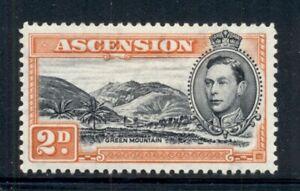 ASCENSION 43b SG41 MH 1938-53 2p org KGVI Green Mountain Perf 13&1/2 Cat$6