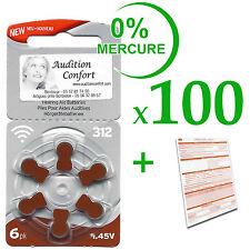 100 plaquettes de 6 piles auditives 312(marron) RAYOVAC