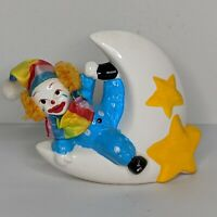 Vintage Circus Clown COIN BANK Hand Painted Porcelain Sitting on Moon Stars