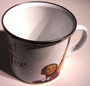 Hurra Kaffee XXL Blechtasse Emaille Becher Tasse 9 x 9 cm 500 ml