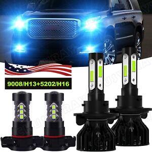 For 2007-2013 Gmc Yukon Denali 4Side LED Headlight Lamps High Low Fog Light Kit