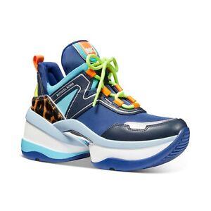 New Michael Kors MK Women's Olympia Trainer Scuba Sneaker Shoes Sapphire Multi