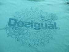 Desigual Women Teal Blue Flower Butterfly T Shirt Size M Medium