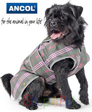 Ancol Charcoal / Olive Green & Pink Check Mac Dog Coat - 4 Sizes