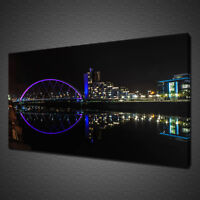 CLYDE ARC BRIDGE GLASGOW NIGHT LIGHTS CANVAS PRINT WALL ART PICTURE PHOTO