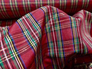 "Christmas Metallic Red Taffeta Plaid 100% Poly Lurex Metallic 57"" Wide Fabric"