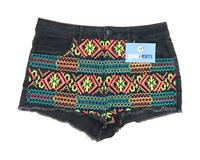 Womens Topshop Black Denim Shorts Size W28/L2