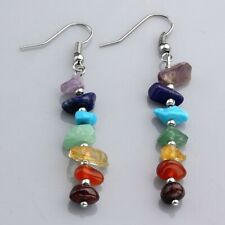 Colorful 7 Chakra Crystal Healing Stones Eardrop 925 SS Ear Hook Fashion Earring