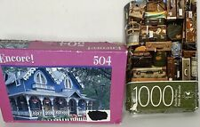 """2 Cardinal 1000pc Jigsaw Puzzles """"Many Travel Bags"""" Encore """"Gingerbread House"""""""