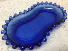 Blue Vaseline glass candlewick salt & pepper tray dish / jewelry dresser uranium