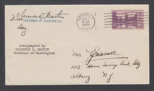 Clarence D. Martin, Washington Governor 1933-41, signed 3c Mt. Rainier FDC