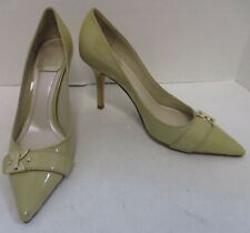 CHRISTIAN DIOR tan patent leather pointy toe slim heel pump sz 36