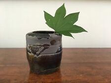 New listing Vintage Studio Art Pottery Vase-Handmade & Signed Pot-Black Glaze-Abstract Style
