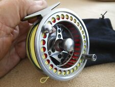 CUSTOM 7/8 WT SILVER ANODIZED CNC 6061-T6  FLY REEL WITH WF-7-F LINE W/ LOOP