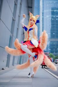 Halloween Fox Nine-tailed Tails Cosplay Prop Pink Faux Fur Party Game Costumes