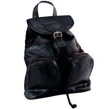 Genuine Black Leather Backpack Purse Shoulder Straps Sling Handbag Tote Travel