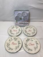 New Set of 4 Pfaltzgraff Winterberry Appetizer Plates -Cheer, Joy, Wish, Peace w