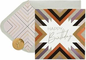 Dramatic Papyrus Birthday Card -Gold & Silver Glitter & Embossing -Retail $7.95