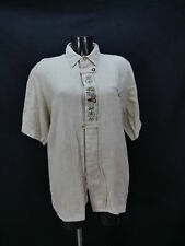 Gr.L Trachtenhemd beige Leinen Auerhahn Edelweiß Stickerei Trachten Hemd TH1484