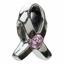 Chamilia Sterling Silver Charity Charm JA-1A Breast Cancer Ribbon Pink CZ RRP£42