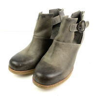 Antelope Womens 38 Ankle Boots Brown Gray Distressed Leather Back Zip Shoe