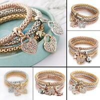 Women Girls 3Pcs/Set Gold Silver Rose Gold Bracelets Rhinestone Bangles Jewelry