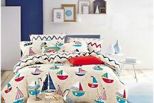 Cliab Sailboat Bedding Queen Size Nautical Duvet Cover 5 pieces set NEW
