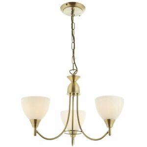 Endon Alton Indoor 3lt 60W E14 Ceiling Pendant Light Antique Brass & Opal Glass