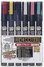 New Gundam Marker Paint Pen AMS110 thin tip type set 6 Markers Japan f/s