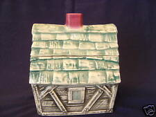 VINTAGE BRUSH POTTERY COOKIE HOUSE JAR CABIN MARKED W-31 ORIGNAL 1962
