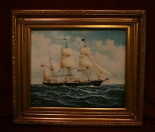 Excellent Oil Painting Of The USS Kearsarge Civil War Battle Ship In Gold Frame