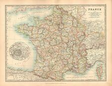1911 LARGE MAP ~ FRANCE ~ ENVIRONS OF PARIS