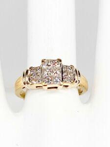 $3000 1ct Si1 I J Princess Cut Diamond 14k Yellow Gold Wedding Band Ring 5g