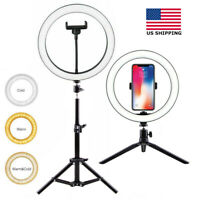 10in LED Ring Light & Stand Tripod Mount Kit Phone Clip Selfie Video Live Stream
