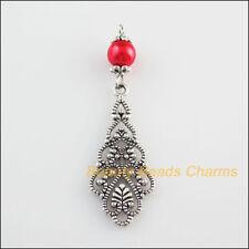 3Pcs Tibetan Silver Tone Turquoise Round Flower Charms Tassels Pendants 22x43mm