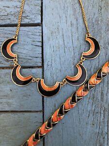 1980's Vintage Statement Gilt Black & Orange Enamel Necklace & Bracelet Deco