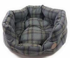 "LUXURY GREY TWEED TARTAN CHECK SOFT PET DOG EXTRA LARGE BASKET BED 80CM - 32"""