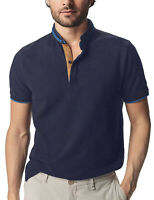 Men's Grandad Shirts Polo Shirt Short Sleeve Mandarin Regular Fit Pique PL11