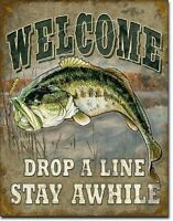 Welcome Bass Fishing Metal Tin Sign Wall Art