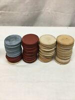 Vintage Clay Poker Chips Red White Blue 84pc Lot