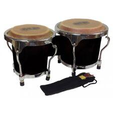 Mano Percussion 4-5″ Inch MP560 Black Mini Bongo Drums Pair Natural Skins Bongos