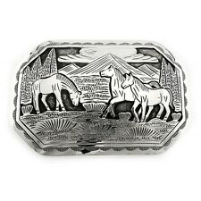Large Native American Sterling Silver Belt Buckle with Horses