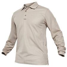 TACVASEN Mens Tactical Long Sleeve Polo T-Shirt Military Hiking Work Golf Shirts