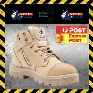 FREE EXPRESS POST!! Steel Blue Parkes 312658 Sand Safety Toe Cap Zip Side Boot