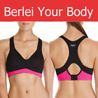 AUTHENTIC WOMENS BERLEI ELECTRIFY BLACK PINK UNDERWIRE SPORTS CROP TOP GYM BRA