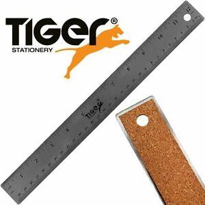 CORK BACKED STAINLESS STEEL RULER 30cm / 12 Inch Metal Non Slip Grip Backing