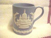 Vintage 1972 Wedgwood England Blue Jasperware St Paul's Cathedral Christmas Mug