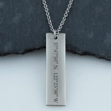 Coordinates Location Engraved Bar Necklace -Stainless Steel- Anniversary Place