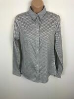WOMENS BANANA REPUBLIC WHITE&BLACK LONG SLEEVED SHIRT CASUAL BUTTON UP SIZE 6