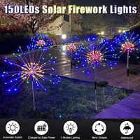 150LED Solar Firework Fairy Light Waterproof Outdoor Path Lawn Garden Lamp Decor